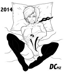 dcpiz helen_parr in_bed monochrome partially_dressed solo the_incredibles