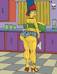 ass big_ass big_breasts blue_hair breasts cleavage daisy_dukes dat_ass earring erect_nipples female heels high_heels huge_ass huge_breasts hyper_breasts long_hair marge_simpson milf muscle_tone necklace tattoo the_fear the_simpsons thighs underboob yellow_skin