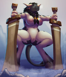 anthro bovine breasts cattle chubby female magic_user mammal pussy shaman spreading sword tauren tribal_spellcaster video_games warcraft weapon world_of_warcraft