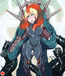 bodysuit cum infested mag rape stomach_bulge straight tentacle tentacle_rape warframe