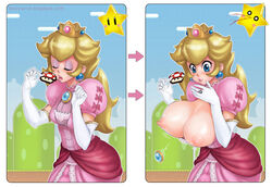 blonde_hair bloocarrot blue_eyes bouncing_breasts breast_expansion breasts breasts_outside crown dress exposed_breasts female gloves huge_breasts large_breasts mushroom nipples princess_peach solo super_mario_bros.