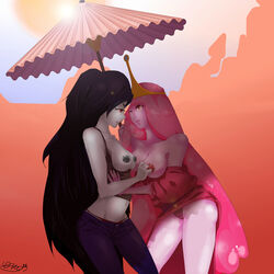 2girls adventure_time bare_shoulders black_hair blush breasts breasts_outside dress dress_pull eye_contact fangs grey_skin highres jeans lens_flare long_hair marceline navel nipples no_bra outdoors panties parted_lips pink_eyes pink_hair pink_skin princess_bubblegum red_eyes smile standing umbrella waiitako yuri