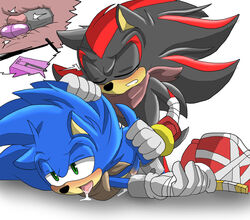 anal angelofhapiness anthro black_fur blue_hair blush closed_eyes cum egg_vibrator fellatio fur gay green_eyes hair half-closed_eyes hedgehog hi_res internal male mammal oral oral_sex penis saliva sega sex sex_toy shaded shadow_the_hedgehog sonic_(series) sonic_boom sonic_the_hedgehog vibrator video_games