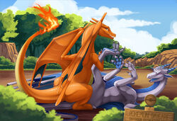 3_toes 4_fingers ambiguous_gender anime blue_eyes blue_scales bushes charizard claws cloud daycare detailed_background digitigrade dragon fangs feral feral_on_feral fire holding hypnoticdragon looking_at_viewer looking_back lying male nintendo open_mouth orange_scales outside penetration pokéball pokemon pokemon_daycare purple_eyes rocks scalie sex sharp_teeth silver_scales sitting smile teeth tongue tree video_games wings