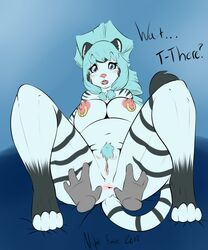 abstract_background anthro anus belly blue_eyes blue_hair blush breasts chubby cuddly cute disembodied_hand english_text feline fur furry hair hands hi_res hindpaw lying mammal navel nightfaux nipple_piercing nipples on_back open_mouth paws piercing pussy pussy_blush spread_legs spreading spreading_anus text tiger white_tiger worried