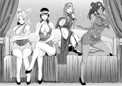 4girls ascot bare_shoulders bed bleach breasts cleavage cross-laced_clothes crossed_legs crossover dress eizen10 elbow_gloves erza_scarlet fairy_tail finger_to_mouth fingerless_gloves garter_straps gloves high_heels japanese_clothes kneeling long_hair looking_at_viewer monochrome multiple_girls naruto nico_robin one_piece parted_lips ponytail quad_tails shihouin_yoruichi sitting smile temari thighhighs