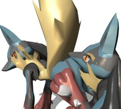 animated ass ass_grab back bent_over black_fur blue_fur jackal looking lucario mega_lucario orange_eyes pokemon presenting_hindquarters rimming source_filmmaker tan_fur transparent_background