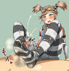 band-aid blue_eyes blush borderlands borderlands_2 cum cum_on_feet dirty_socks female footjob gaige male orange_hair penis phb pubic_hair stockings straight striped_legwear thighhighs torn_clothing