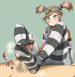 band-aid blue_eyes blush borderlands borderlands_2 dirty_socks feet female footjob gaige male orange_hair penis phb pubic_hair smile stockings straight striped_legwear thighhighs torn_clothing