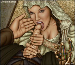 1boy 1girl anakin_skywalker attack_of_the_clones braid brown_eyes brown_hair clothed_female clothed_male cum cum_in_mouth cum_on_chin cum_on_penis female hand_on_penis looking_up male on_knees oral oral_sex padme_amidala penis penis_grip shabby_blue star_wars tongue