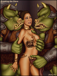 2boys alien armband braid breasts brown_hair female forced human imminent_rape interspecies nipples princess_leia_organa rape scared shabby_blue slave_leia star_wars straight