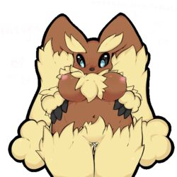 animated blinking breasts female fluffy heart japanese lopunny nintendo pokemon sheep_(artist) tagme translation_request video_games