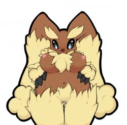breasts female fluffy heart japanese lopunny nintendo pokemon sheep_(artist) tagme translation_request video_games