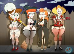 4girls areola beverly_binford blonde_hair breasts breasts_out brown_hair cyan_eyes dexter's_laboratory dexter's_mom fat_mons gladys green_eyes halloween heels high_heels hips huge_breasts johnny_test large_breasts large_nipples licking_lips lila_test lip_bite looking_at_viewer milf nipples orange_hair perky_breasts pubic_hair the_grim_adventures_of_billy_and_mandy thick_thighs thighhighs thighs whargleblargle wide_hips