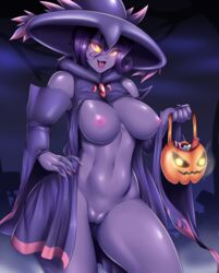 1girl 2018 areolae basket belly breasts clothed clothing colored_nails digital_media_(artwork) eyelashes female female_only ghost glowing_eyes holding holding_object looking_at_viewer mismagius mleonheart mostly_nude nail_polish navel nintendo nipples not_furry open_mouth pink_eyes pokémon_(species) pokemon pokemon_dppt purple_skin pussy solo standing tongue video_games yellow_sclera