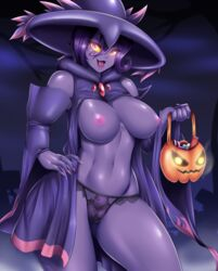 1girl 2018 areolae basket belly breasts clothed clothing colored_nails digital_media_(artwork) eyelashes female female_only ghost glowing_eyes holding holding_object looking_at_viewer mismagius mleonheart nail_polish navel nintendo nipples not_furry open_mouth panties pink_eyes pokémon_(species) pokemon pokemon_dppt purple_skin pussy see-through solo standing tongue translucent transparent_clothing underwear video_games yellow_sclera