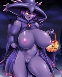 1girl 2018 areolae basket belly big_breasts breasts clothed clothing colored_nails digital_media_(artwork) eyelashes female female_only ghost glowing_eyes holding holding_object huge_breasts looking_at_viewer mismagius mleonheart mostly_nude nail_polish navel nintendo nipples not_furry open_mouth pink_eyes pokémon_(species) pokemon pokemon_dppt purple_skin pussy solo standing tongue video_games yellow_sclera