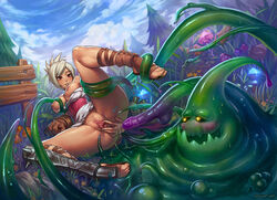 anus ass blush bottomless breasts clitoris close-up consensual_tentacle_sex dark_skin feet groping large_breasts league_of_legends leg_lift monster nipples no_panties on_back presenting pussy pussy_juice riven shaved_pussy shoes smile speh spread_pussy sweat tan tanned tentacle toe_scrunch toeless_legwear toes uncensored upskirt urethra zac