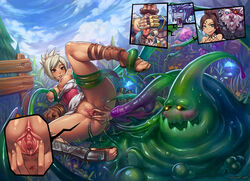 anus ass blush bottomless braum breasts clitoris close-up consensual_tentacle_sex dark_skin feet groping jinx_(league_of_legends) large_breasts league_of_legends leg_lift monster nidalee nipples no_panties on_back poro presenting pussy pussy_juice rengar riven shaved_pussy shoes shyvana smile speh spread_pussy sweat tan tanned tentacle toe_scrunch toeless_legwear toes uncensored upskirt urethra zac