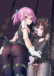 2girls ass black_hair black_legwear blue_eyes blush cameltoe cfm chains covered_nipples gloves gothic_lolita grey_legwear hand_on_ass hook isolated_island_oni kantai_collection lolita_fashion long_hair looking_at_viewer multiple_girls nipples open_mouth orange_eyes pale_skin pantyhose pink_hair pussy_juice pussy_juice_stain shinkaisei-kan shiranui_(kantai_collection) short_hair short_ponytail small_breasts torn_clothes white_gloves