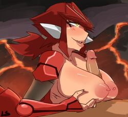 big_breasts blush breasts female groudon hair human humanized legendary_pokémon lightsource lips male mammal nintendo personification pokemon ponytail red_hair titjob video_games yellow_eyes