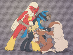 bisexual blaziken domination female female_domination furry lopunny lucario male nintendo pokemon shmutz-art video_games