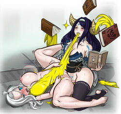 2girls anilingus barefeet black_hair blue_eyes blush bouncing_breasts clenched_teeth clothed_sex confused demon_horns demon_tail domination fairy_tail feet femdom futa_on_female hips large_breasts leg_grab legs long_hair lying mirajane_strauss nipples on_back open_mouth rape red_eyes saliva sayla sex spread_legs sweat toes torn_clothes vaginal_penetration white_hair