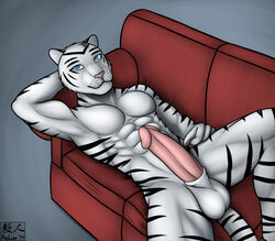 2014 abs anthro aolun_(artist) balls biceps big_penis black_fur body_markings erection feline fur humanoid_penis looking_at_viewer male mammal markings muscles nude pecs penis pose sheath sofa solo tiger toned white_fur white_tiger