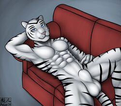 2014 abs anthro aolun_(artist) balls biceps black_fur body_markings feline fur looking_at_viewer male mammal markings muscles nude pecs penis pose sheath sofa solo tiger toned white_fur white_tiger