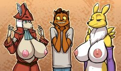 anthro areola big_breasts breasts clothed clothing digimon feline female final_fantasy_ix freya_crescent fur furry happy huge_breasts kostos_art lip_bite male mammal mane nipples nude renamon