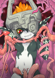 blush breasts female imp midna nintendo nude red_eyes solo sucking tentacle the_legend_of_zelda twilight_princess unknown_artist video_games