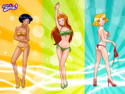 alex alex_(totally_spies) bikini breasts clover gyrfalcon65 high_heels sam topless totally_spies