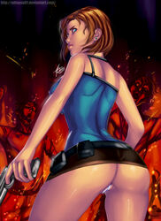 ass back_view dat_ass jill_valentine resident_evil short_skirt solo thong upskirt xdtopsu01