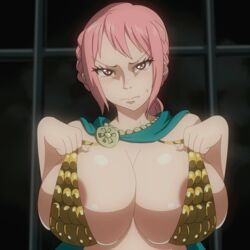 animated armor breasts cape female one_piece pink_hair rebecca_(one_piece)