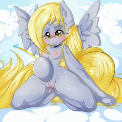 anthro bedroom_eyes blonde_hair blush breasts clitoris cloud derpy_hooves equine feathers female friendship_is_magic fur grey_fur hair hi_res hooves horse long_hair looking_at_viewer mammal my_little_pony nipples outside pussy
