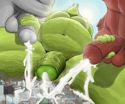 alien anthro balls big_balls big_cock big_penis city cum cum_everywhere cum_explosion cum_fountain erect erect_penis furry gay handjob huge_balls huge_cock justmegabenewell macro male masterbating masterbation micro monster nipples penis size_difference slug