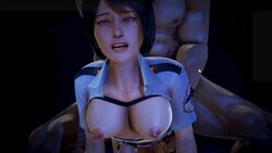 3d animated artist_request beret black_hair bouncing_breasts breasts character_request female from_behind male nipples policewoman sex short_hair sound tagme webm