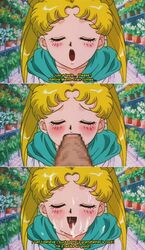 age_difference bishoujo_senshi_sailor_moon blonde_hair blowjob blush censored cheating cum cum_everywhere cum_in_mouth cum_on_face dialogue english facing_viewer grandpa_hino mouth open_mouth penis sailor_moon subtitles sucking text tongue twintails usagi_tsukino