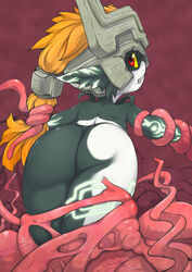 ass blonde_hair clenched_teeth female helmet imp j7w long_hair looking_back midna red_eyes solo tentacle the_legend_of_zelda twilight_princess yellow_sclera