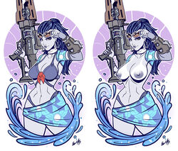 alternate_costume areolae artist_request blue_hair blue_skin bra breasts cowboy_shot earrings female gun navel nipples overwatch ponytail signature solo sunglasses tanline topless weapon widowmaker_(overwatch) yellow_eyes