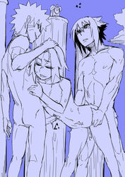 1girl 2boys abs ass ass_grab clock consensual huge_penis konakona long_penis muscular naruto outdoors outside sakura_haruno small_breasts tagme threesome uchiha_sasuke uzumaki_naruto