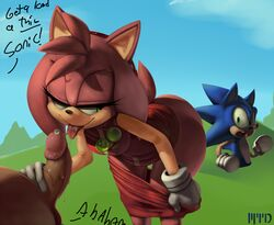 2014 amy_rose anthro balls erection fellatio female hedgehog male mammal marthedog oral oral_sex penis sega sex sonic_(series) sonic_the_hedgehog theboogie undressing