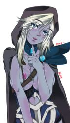 aanniimmaakkss armor blue_eyes blue_skin blush body_blush breasts breasts_outside cape dota_2 drow_ranger female finger_to_chin head_tilt hood long_hair looking_at_viewer nipples parted_lips smile solo standing tall_image translucent_hair transparent_background white_hair