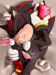 blush cum cum_on_body cum_on_face cum_on_penis gem nekokagebevil penis sega shadow_the_hedgehog sonic_(series)