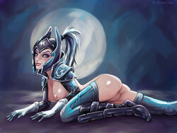 armor ass boots bottomless breasts dota_2 eyeshadow female freckles gloves h1kar1ko helmet looking_away luna makeup moon nipples ponytail purple_eyes pussy smile solo thighhighs white_gloves white_hair