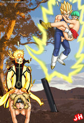 blonde_hair breasts bulma_briefs clothes color couples crossover day dragon_ball_z female flying human interspecies john_hollow male midair_sex multiple_females multiple_males muscles naruto naruto_uzumaki outdoors saiyan sex temari vegeta