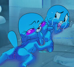 anus balls bite blush furry gumball_watterson holding incest nicole_watterson penis pussy tears text the_amazing_world_of_gumball young