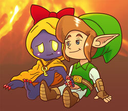 black_skin blue_eyes blush bow dorigreen female handjob hylian interspecies key link male oracle_of_seasons pussy rosa subrosian the_legend_of_zelda video_games yellow_eyes