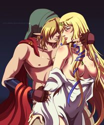 1boy arm_guards blonde_hair blue_eyes blush breasts cap cape cloak crown dress earrings erect_nipples female female gown light_skin link male nipples pointed_ears princess_zelda queen-zelda ribbons ring robe shirtless tan_skin the_legend_of_zelda tiara topless triforce