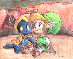 black_skin blue_eyes bow dorigreen female handjob hylian interspecies key link male oracle_of_seasons pussy rosa subrosian the_legend_of_zelda video_games yellow_eyes